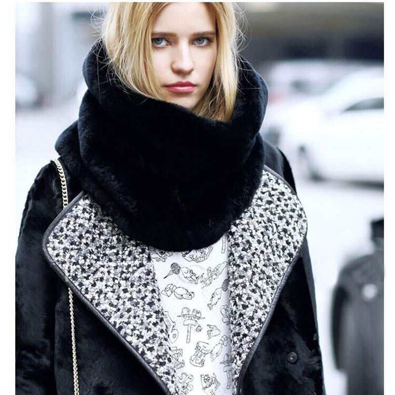 High-quality Vintage Classic Black Thickening Women scarves Cashmere-like Neck Cowl Wrap shawl thicken winter warm Loop scarf