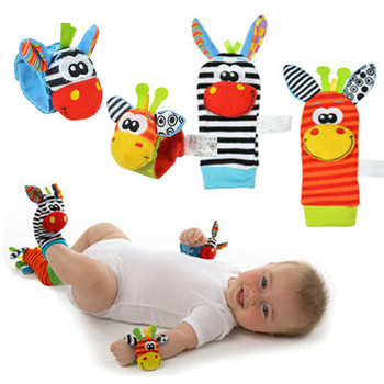 Cartoon Baby Toys 0-12 Months Baby Rattles Children Infant Newborn Toys Soft Plush Sock Baby Rattle Toy Wrist Strap Baby Socks toys for 2 month old