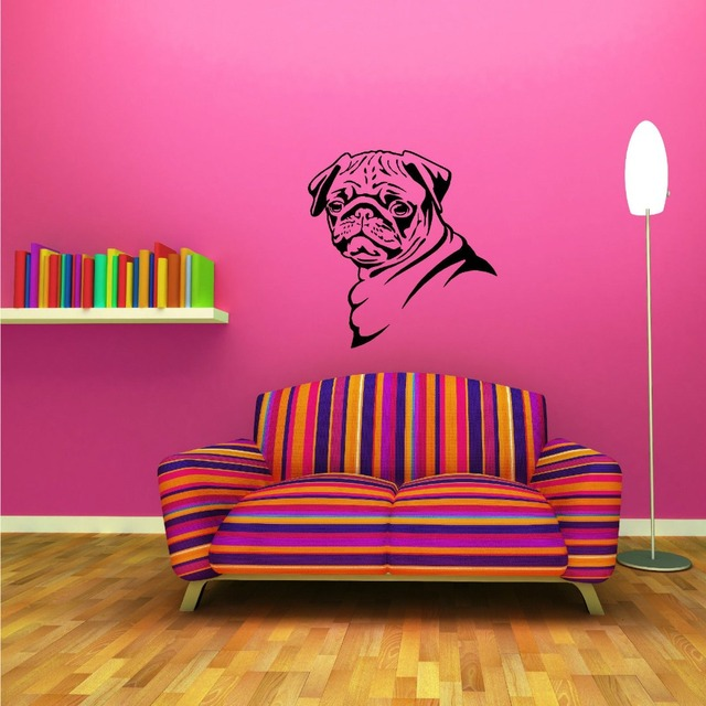 Vinyl Removable Pug Dog Wall Sticker Canine Pugs Animal Series Wall ...