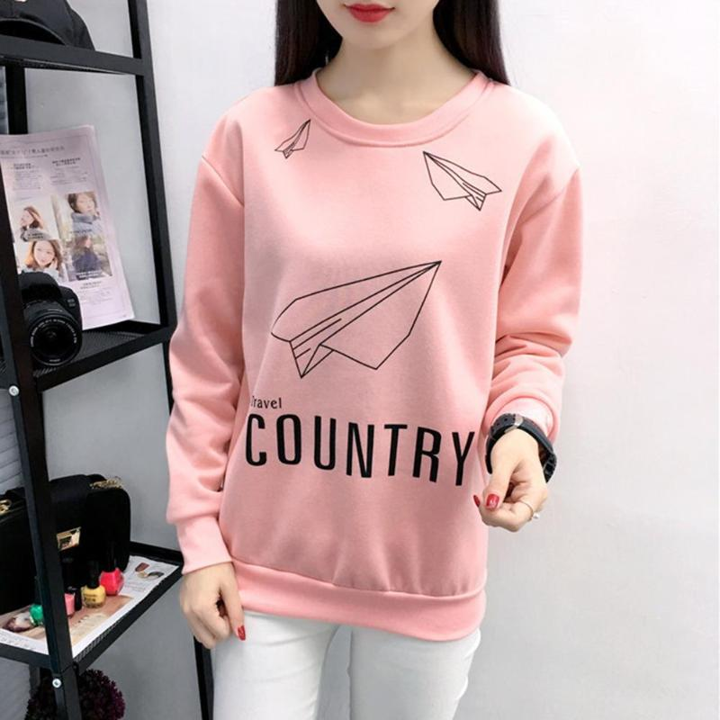 Women Long Sleeve Sweatshirt Soft Casual Cute Daily Pullover Tops O-Neck Bottoming Clothes