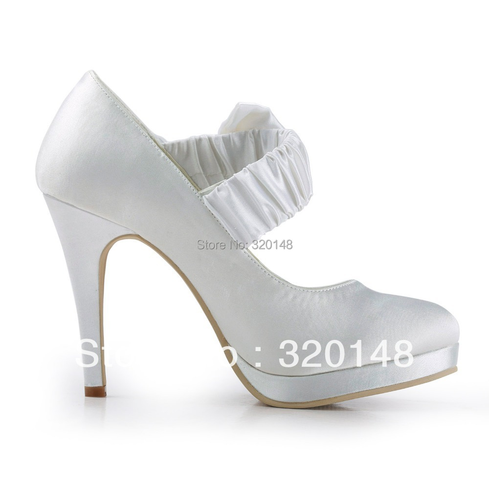 ... Lady Wedding Bridal Shoes Ivory. . EP11119-PF Women White Red Closed  Toe Bow Platform High Heel Bride Bridesmaids Satin Pumps. sku  603268935 4a76df1ef010