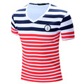 2016 New Brand Men T-shirt Casual V-neck Short Sleeve Tees Stripe Fashion Style Summer Tops Wear 100%Cotton Plus Size RT006