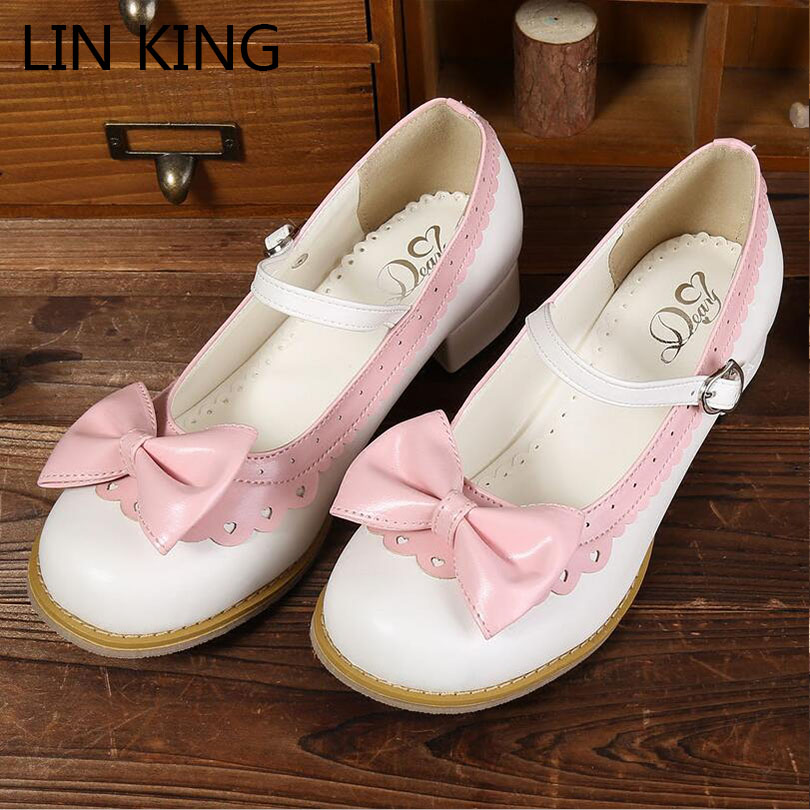 LIN KING New Medium Square Heel Women Pumps Sweet Round Toe Bow-Knot Lolita Shoes Casual Buckle Female Cosplay Single Shoes female high quality sweet bow knot plus size 35 44 round toe women shoes on flats casual footwear matching shoes and bags italy
