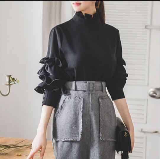 Camisa Negra de volantes Mori color Oficina señora Blusa de manga larga coreana ropa Formal mujeres camisas de gasa Tops E207