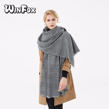 Winfox 2018 New Brand Winter Black White Houndstooth Plaid Blanket Scarf Shawl Pashmina Foulard For Womens