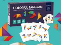 Wooden Tangram 7 Piece Children Wooden Educational Jigsaw Puzzle Colorful Square IQ Game Brain Teaser Intelligent Toys