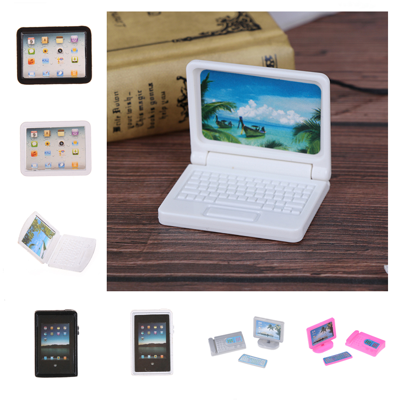 1:12 Scale Laptop Mini-Tablet Computer Toy Dollhouse Miniature Toy Doll Food Kitchen Living Room Decoration Accessories