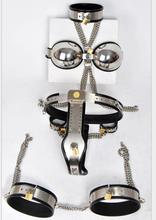 HOT Female Adjustable Stainless Steel 5 Piece Sets Chastity Belt Device Collar Bra Handcuffs Leg Rings Adult BDSM Sex Toy