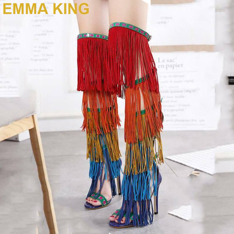 Fashion Runway Tassel High Boots Summer Sandals Women High Heels Shoes Mixed Color Fringe Ladies Stiletto Long Gladiator SandalsFashion Runway Tassel High Boots Summer Sandals Women High Heels Shoes Mixed Color Fringe Ladies Stiletto Long Gladiator Sandals