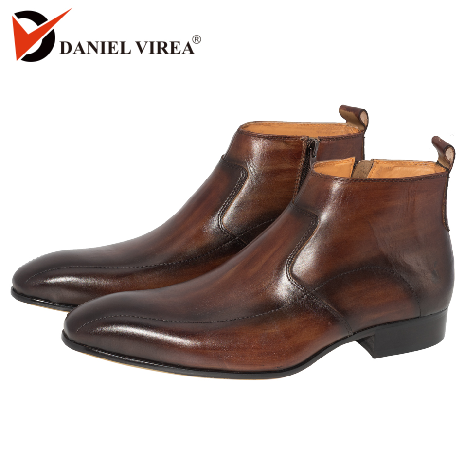 Men Dress Leather Boots Basic Handmade Coffee Color Fashion Luxury Brand Lace up Zip Ankle Men