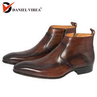 Men Dress Leather Boots Basic Handmade Coffee Color Fashion Luxury Brand Lace-up Zip Ankle Men's Pointed Toe Dress Oxfords Shoes