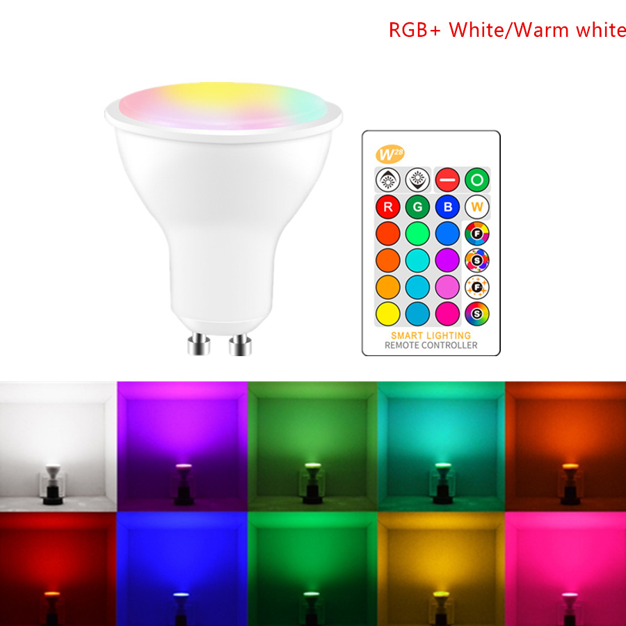AC 85-265V RGB Led Lamp RGBW/RGBWW GU10 Led Spotlight Min Energy Saving Light With Memory110V/220V 5W 500lm +Remote Controller letterfire lz 06 gu10 5w 5 led lamp housing silver white 85 265v