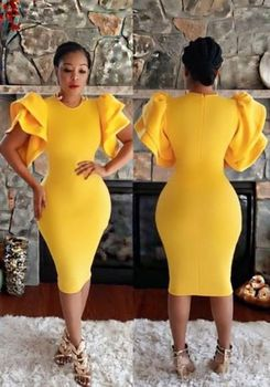 Arabic African Gold Evening Dress Midi Short Sleeve Tight Pencil Prom Dresses O Neck nigeria Formal Party Gowns Custom Huge Size