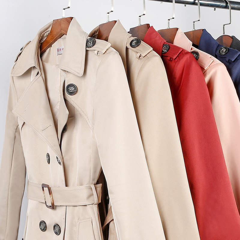 Coupe Red Casual pink Beige dark Manteaux Trench vent Avec Automne Kahki Printemps breasted 5xl light Kahki dark Couleurs dark Blue Taille Slim 8 Femmes black Double Long red Grande Ceinture wFanxqIBfU