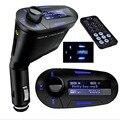 Azul Kit de Coche Reproductor de MP3 Transmisor Inalámbrico de FM Del Modulador Del Transmisor Del USB SD MMC LCD Remoto A Estrenar