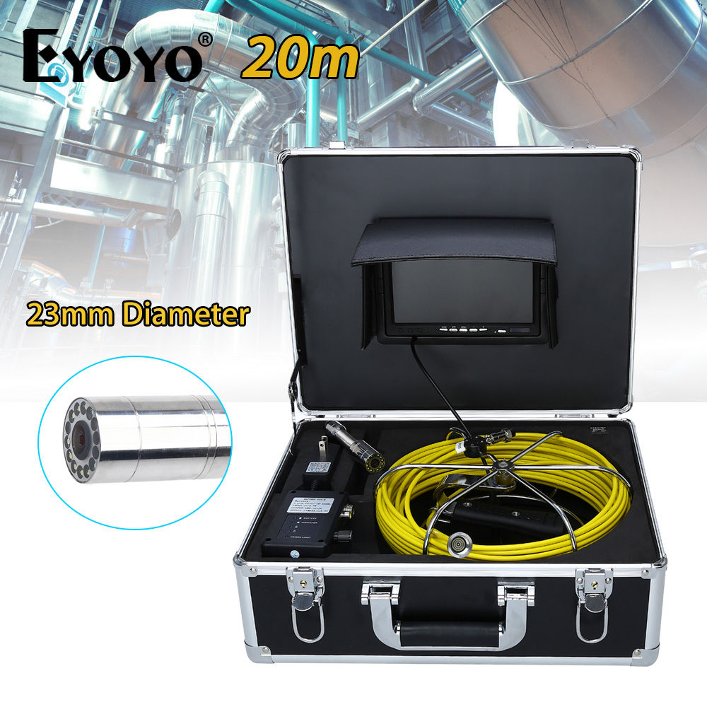 Eyoyo 20M 7 LCD 23mm Drain Sewer Pipe Line Inspection Camera Color Sun Shield System CMOS 1000TVL Waterproof Snake Endoscope dhl free wp90 50m industrial pipeline endoscope 6 5 17 23mm snake video camera 9 lcd sewer drain pipe inspection camera system