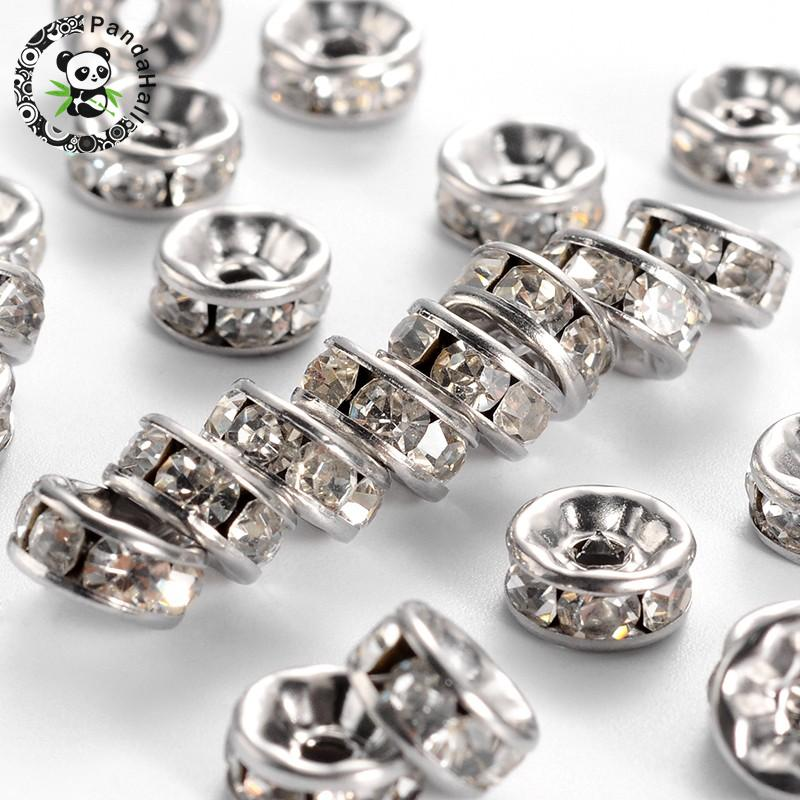 50pcs 304 Stainless Steel Bead Rondelle 8x4mm Jewelry Finding Loose Spacer Craft
