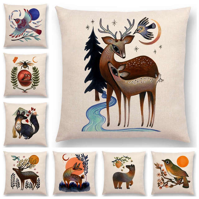 Retro Mystery Watercolor Art Totem Sofa Pillow Case Animals Deer