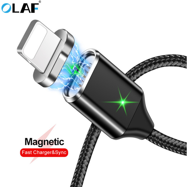 OLAF Magnetic Usb Cable For Iphone Cable 8 7 6 Plus 5s Se X 9 plus Xs IPad Fast Charging Cables Mobile Phone charger Cord Data