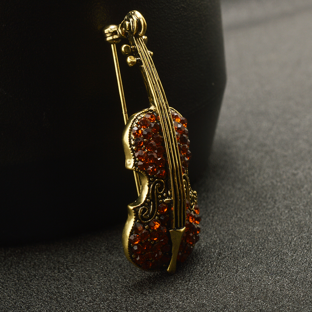 Women Men Retro Crystal Rhinestone Violin Cello Music Instrument Brooch Pin