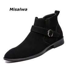 Misalwa Newest Chelsea Boots Men 2018 Flock Pointed Toe Buckles Leisure Shoes Male Italy Style High