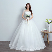 U SWEAR 2019 New Arrival Women Elegant Wedding Dress High Waist Lace Boat Neck Embroidery Backless Ball Gown Vestidos De Noiva