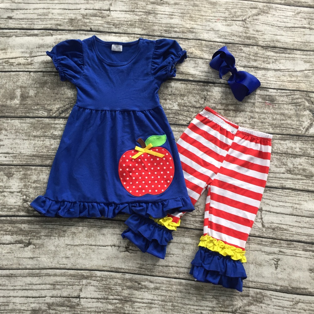 2016 Summer Back To School Outfit Girls Cute Clothes Royal Blue Apple Kids Clothing Stripes Capri Set Baby With Matching Bow In Sets From Mother