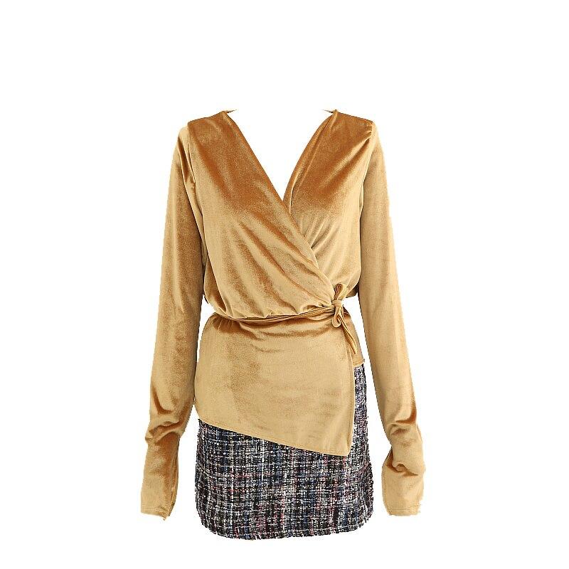 Velour Short yellow Split Pink Fashion Bandage Woman Vintage Black V Shirt Sexy Women New neck 2019 Getsring pink Top Blouse brown Black 1Y0xqEw