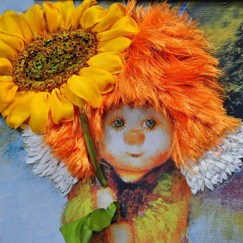 5D Diamond Painting Cross Stitch Sunflower Angel Diy Full Diamond Embroidery Needlework Diamond Mosaic Home Decor FG076