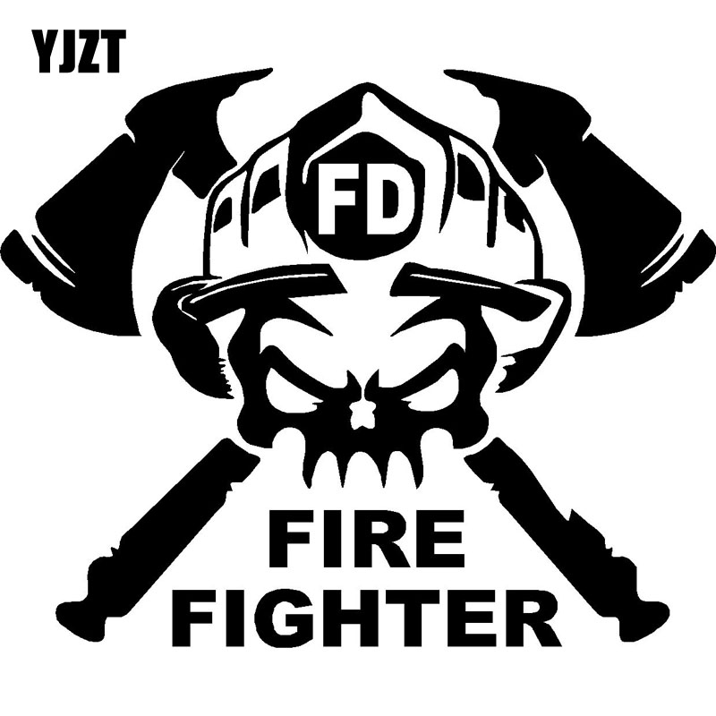 YJZT 15×12.1CM Cartoon Fun FIRE FIGHTER Vinyl Decal Car Window Sticker Black/Silver S8-1337
