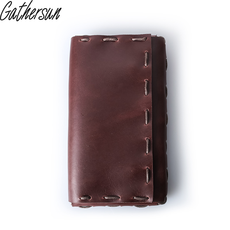 Gathersun Brand Vintage Handmade Genuine Leather Wallet For Women And Men High Quality Cowhide Large Capacity Purse Clutch Bag gathersun the secret life of walter mitty retro wallet handmade custom vintage genuine wallet crazy horse leather men s purse