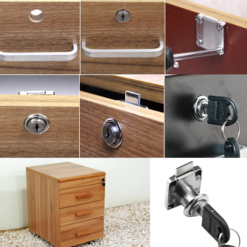 Drawer Lock With 2 Keys Zinc Alloy Furniture Door Cabinet Locks For Office Desk Letter Box SKD88