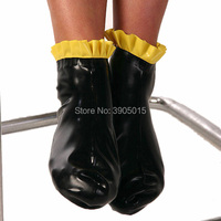 Latex Short Sock Black Latex Rubber Short Socks With frill