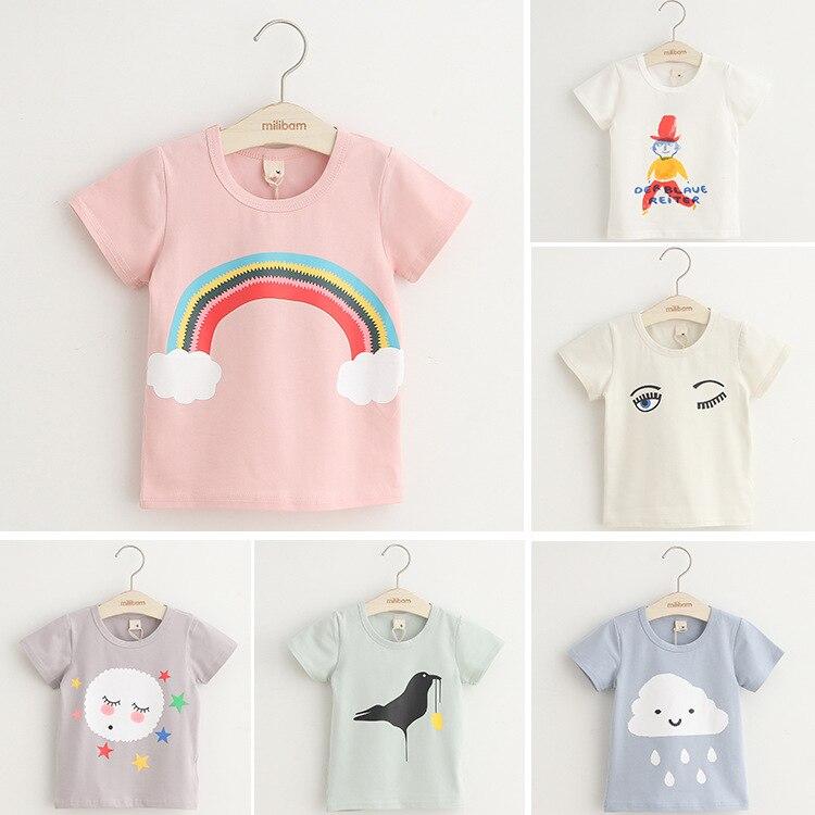 Free shipping,Hot sale child clothing baby boy girl t shirts,Bird, cloud, rainbow t shirt,Fashion,Summer,Tops,Tees,Kids wear цена