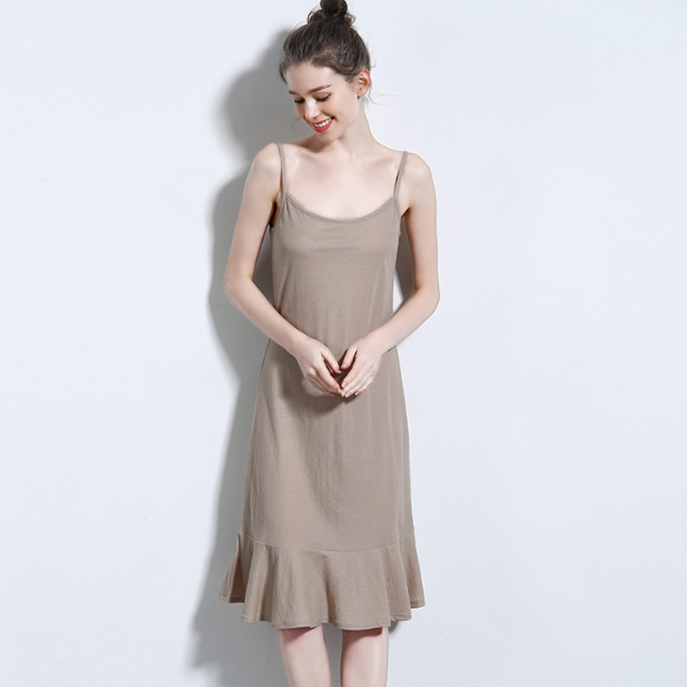 Spring and summer new style Hemp cotton long fishtail dress Solid color suspender Bottoming