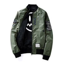 2018 new men's coat Spring and autumn casual hip hop baseball uniform letters pattern zipper pocket pilot jacket Tops outwear