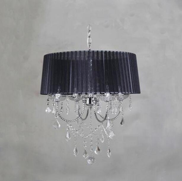 Осветительная лампа, подвесные светильники, светодиодная Хрустальная спальня, благородная Роскошная лампа, дымоход e14, лампа, стеклянная основа, светодиодная лампа, модный абажур XU - Цвет корпуса: black