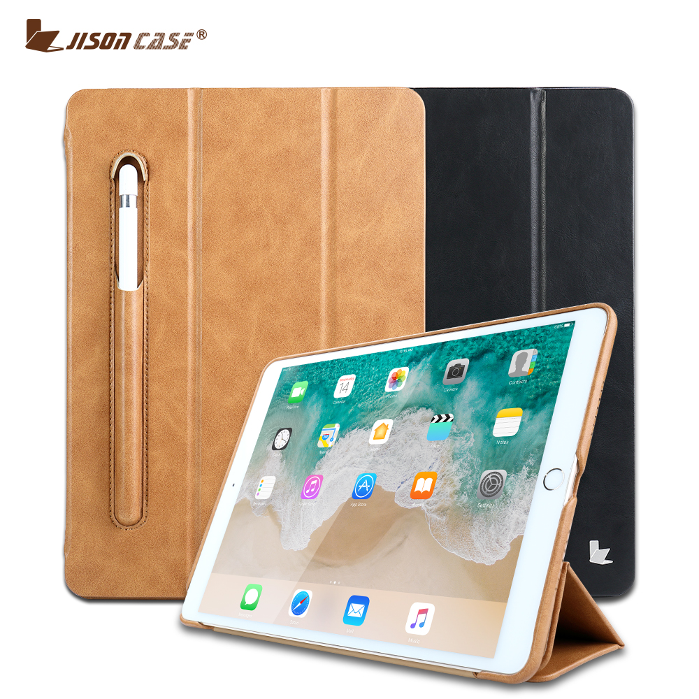 Jisoncase Leather Smart Cover for iPad Pro 10.5 Luxury Flip Folio Tablet Case with Pencil Slot for iPad 10.5 inch 2017 Released