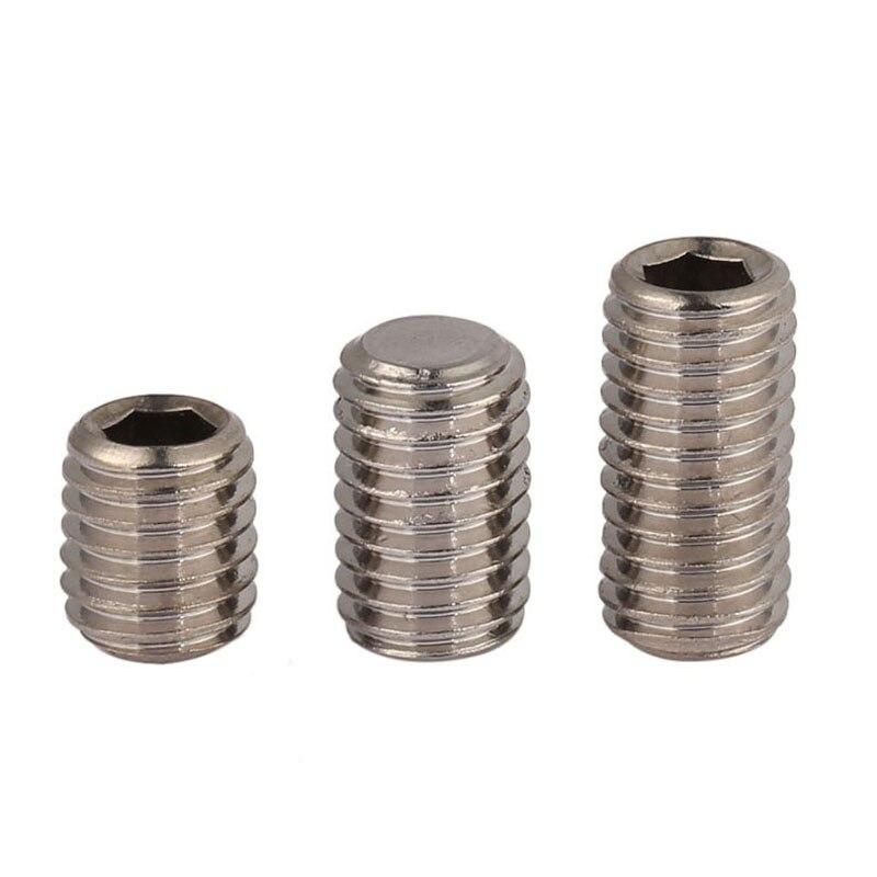 M6 GB77 304 Stainless Steel Hexagonal Headless Screws, Machine Meter Top Wire,Flat-end Set Screws M6* 5/6/8/10-25mm
