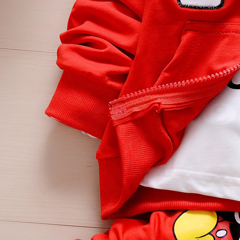 Children New Boys Clothing Set Autumn Winter 3 Piece Sets Hooded Coat Suits Fall Cotton Kids Baby Boys Gray Red Clothes Mickey