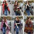 New Fashion Fringed Ethnic Geometric Women Batwing Cape Poncho Knit Top Cardigan Sweater Coat Hip Scarf Shawl Free Shipping