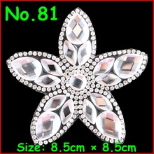 3 Pcs/Lot Flower Motif wholesale loose hotfix rhinestones crystal motif appliques Crystal Patches Applique DIY Garment