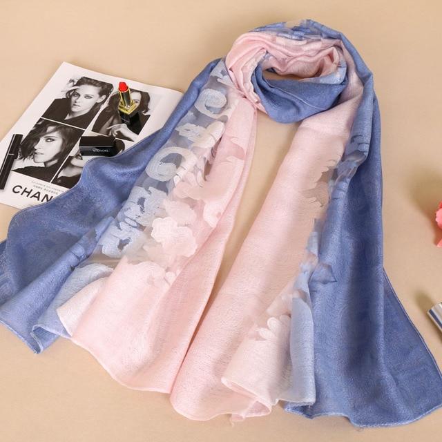 8204d5f34986 Femmes de luxe de haute qualité laine coton ombre soie fleur châles  Silencieux hijab long wrap