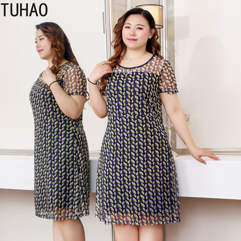 TUHAO High Quality Mother Office Lady Casual Dresses <font><b>Plus</b></font> <font><b>Size</b></font> 10XL <font><b>8XL</b></font> <font><b>Women</b></font> Dress SUMMER ELEGANT Party Dresses 6xl 4xl MS05 image