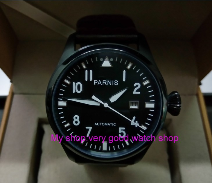 47mm PARNIS Automatic Self-Wind Mechanical movement men's watch Black dial PVD case luminous Mechanical watches zdgd113a цена