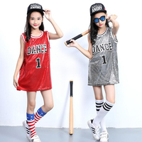 Child Hip Hop Costumes Girls Jazz Dance Costumes Sequin Red Sliver Vest Kids Street Dance Clothes Performance Clothing Outfits