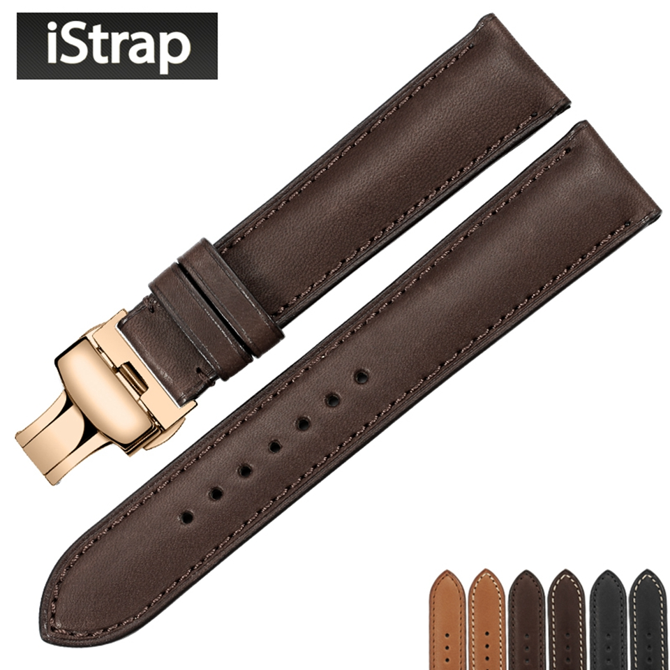 iStrap Genuine Leather Watch band first layer of Watch strap with Rose gold butterfly buckle for Tissot Omega Watchband