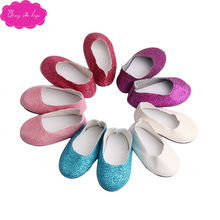 Simple doll shoes sequined flats 5 colors fit 18-inch girl dolls and 43-cm baby shoe accessories s82-s86