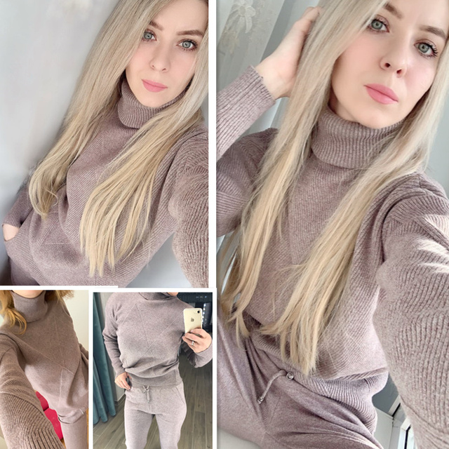 Autumn winter Knitted tracksuit Turtleneck sweatshirts Casual Suit Women clothing 2 Piece set Knit pant Sporting suit Female 1