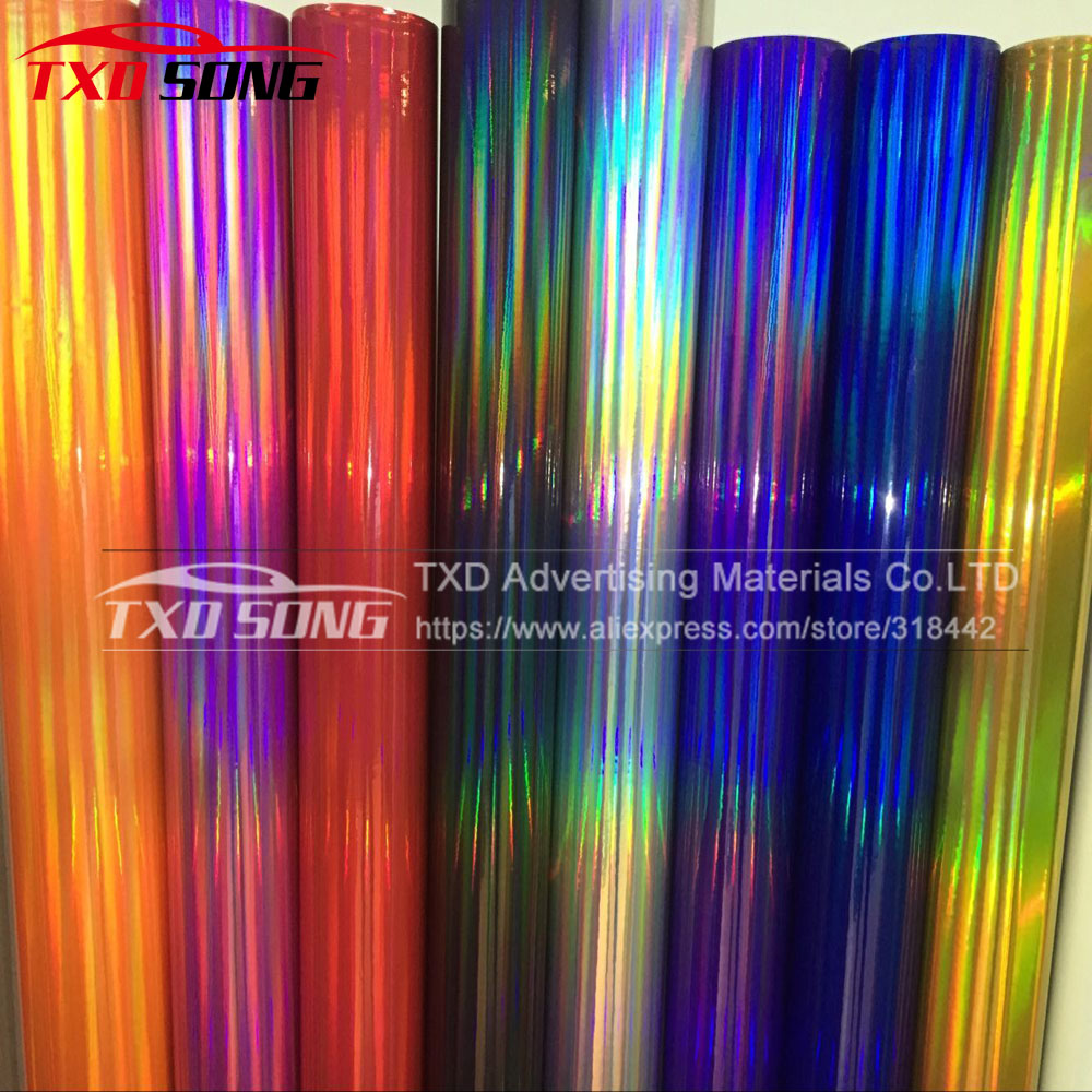 10 20 30 40 50 60X152CM LOT Premium Silver black Holographic Chrome Vinyl Film Laser Car Wrap Sticker Sheet With Air Bubbles